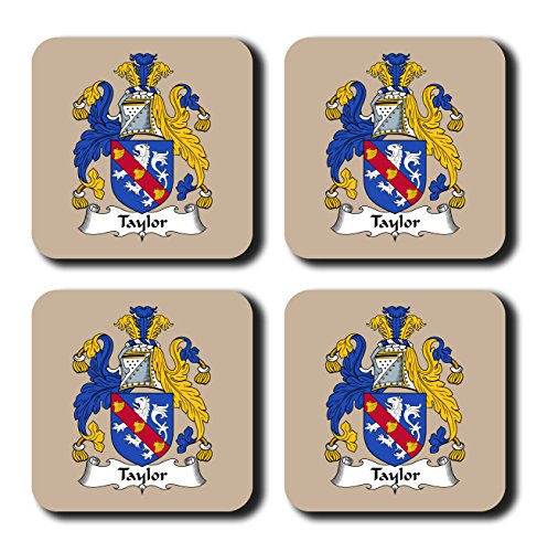 Taylor Coat of Arms/Family Crest Coaster Set, by Carpe Diem Designs – Made in the U.S.A. -