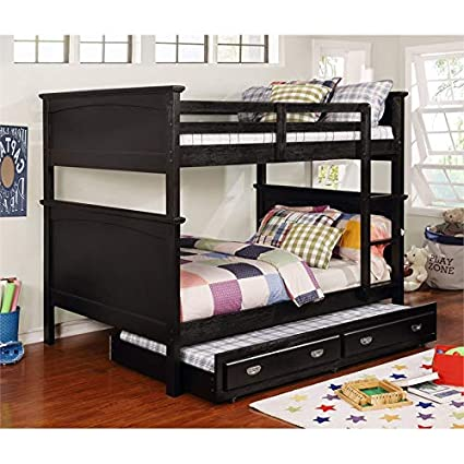 Amazon.com: Furniture of America Delphine Full Over Full Bunk Bed in Black: Kitchen & Dining