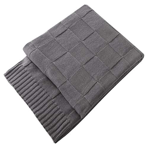 Treely 100% Cotton Knitted Throw Blanket Classic Square Pattern Knit Throw Blanket Super Soft Warm for Sofa Couch Bed(Gray,50