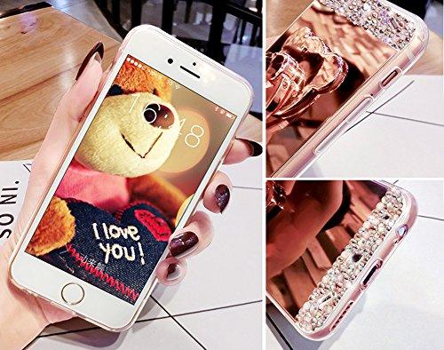 Funda Case Samsung Galaxy Grand Prime G530 silicona,Ukayfe Carcasa Espejo Samsung Galaxy Grand Prime G530 Mirror Case,Ultra fina de Tpu funda de silicona espejo brillante Cover Case, brillantes crista Oro 4#