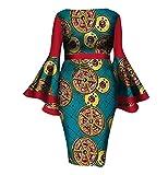 Zimaes Women Dashiki Cotton African Print Flare Sleeve Waist Cocktail Gowns 11 4XL
