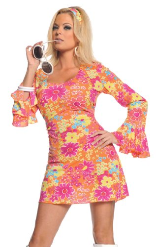 Underwraps Costumes  Women's Retro Hippie Costume - Flower Power, Orange/Pink/Yellow, Small - Girls Far Out Disco Costumes
