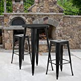Flash Furniture 24'' Round Metal Indoor-Outdoor Bar Table Set with 2 Square Seat Backless Stools