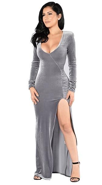Amazon.com: Vestido largo de terciopelo con cuello en V ...