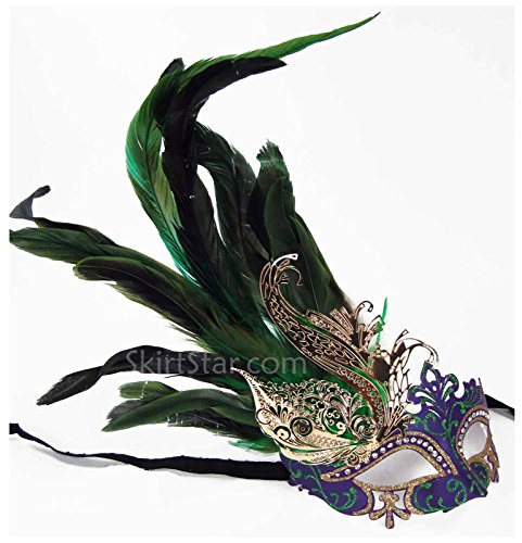 Women's Mardi Gras Mask with Feathers - Feather Green Mask
