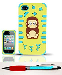 Accessory Factory(TM) Bundle (the item, 2in1 Stylus Point Pen) iPhone 4 4s (AT&T Verizon Sprint T-Mobile Cricket) PC SC Monkey 3D Design Case Cover Protector - PCSC Yellow Baby Blue