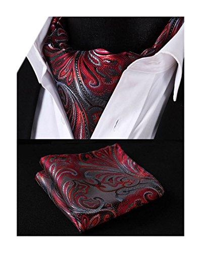Silk Ascot (HISDERN Men's Ascot Paisley Floral Jacquard Woven Gift Cravat Tie and Pocket Square Set)