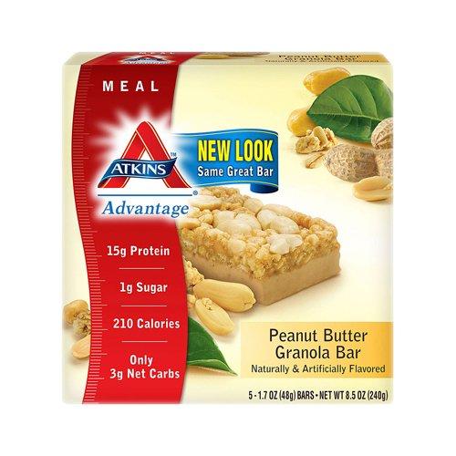 Atkins Advantage Peanut (Atkins Advantage Bar Peanut Butter Granola - 14g Protein - Low Sugar - low Calories - 5 Bars)