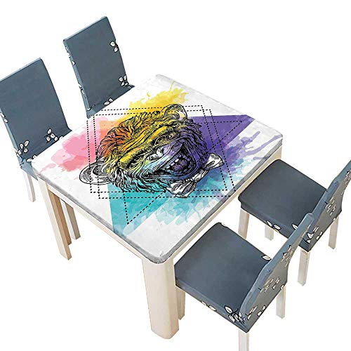 PINAFORE Printed Fabric Tablecloth Aerial View A Valley House Winery Elements Italian Mediterranean Artwork Washable Polyester 49 x 49 INCH (Elastic Edge) ()