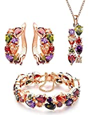 Women Jewelery set, Euramerican Style Colorful Crystal Bracelet Necklace Earring