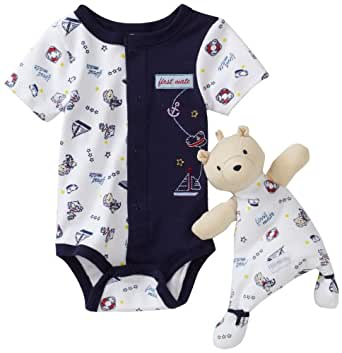 Vitamins Baby-boys Newborn Bear Sailor 2 Piece Creeper Set With Blanket Buddy, Blue, 9 Months
