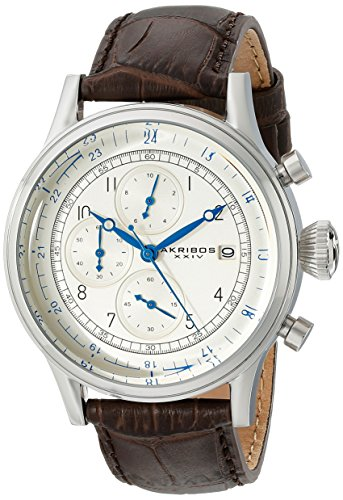 Akribos XXIV Men s AK798SSBR Chronograph Quartz Movement Watch with Silver Dial and Brown Leather Strap