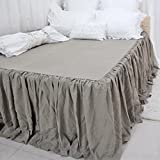 Queen's House Linen Bedspreads Bed Skirt King Size-Flaxen