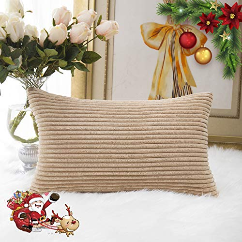 HOME BRILLIANT Striped Corduroy Rectangle Throw Pillow Cover Cushion Cover for Toddler/Kids/Nursery, 12 x 20, Taupe