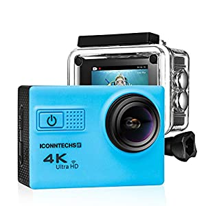 ICONNTECHS IT Action Camera for Sports Photography | UHD 4K/24fps, 1080P/60fps, IMX078 Sensor, 70-170 Wide Angle Lens, Waterproof up to 30m by (Blue)