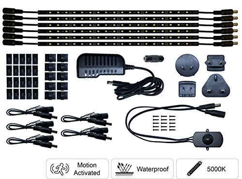 LED Safe Lighting Kit, 6 Pack, Motion Sensor, 12