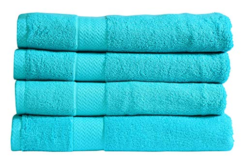 Divine 100% Ringspun Combed Cotton Premium Luxury Extra Large Turkish Bath Towels (30×54 Inch)–Set of 4,Plush,Soft,Absorbent,Machine-Washable,Quick-Dry,Eco-Friendly,SPA/Hotel Quality (Turquoise)