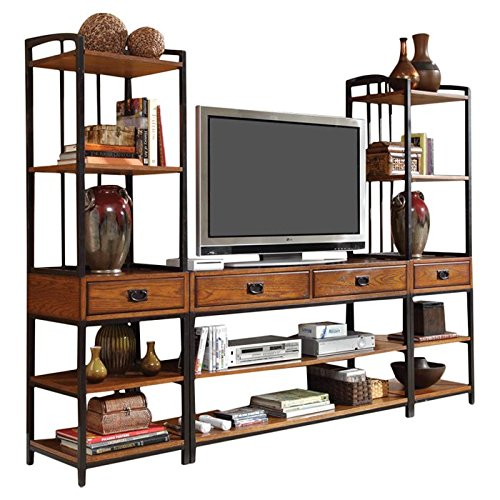 Entertainment Center, One-Piece, 4 Drawers with Safety Stops, 2 Media Towers, 6 Shelves, Ample Storage and Display Space, Metal Construction, Poplar Solids and Oak Veneers, Brown Finish