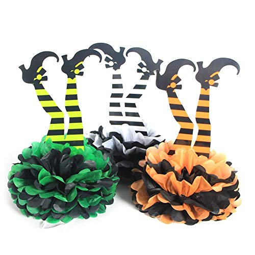 PAPER JAZZ 3 pcs Halloween Witch's Boot DIY Paper Pom Poms Flowers Halloween Party Hanging Decorations Table Centerpiece]()