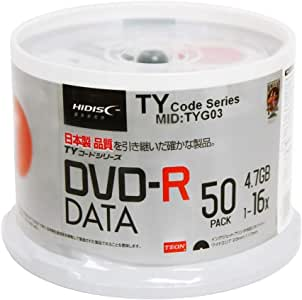 50 Spindle HiDisc DVD-R 16X 4.7GB 120Min (Taiyo Yuden TY Code MID TYG03) White Inkjet Hub Printable Blank Recordable Disc (Renewed)