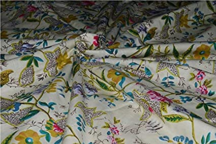 2.5 Yard Cotton Fabric Craft Voile Hand Block Print Fabric Sewing Indian Dresses