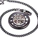 ManChDa Steampunk Mechanical Skeleton Big Size Hand Winding Pocket Watch Open Face Fob for Men 8