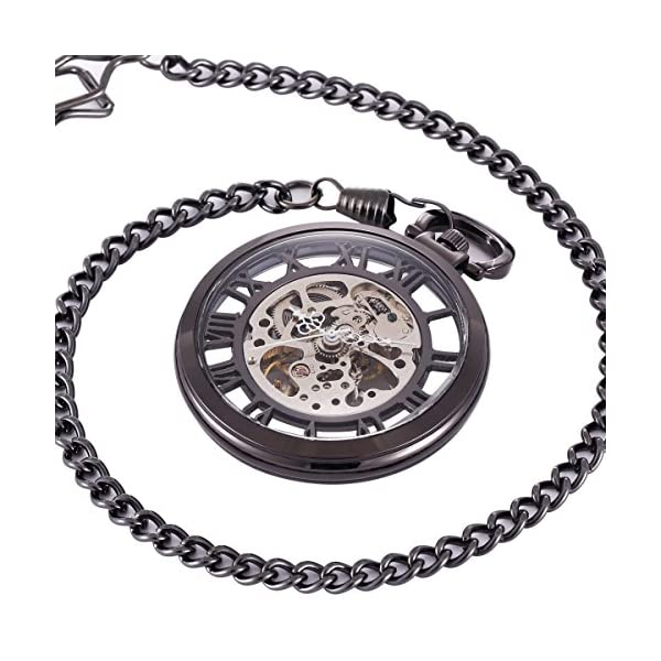 ManChDa Steampunk Mechanical Skeleton Big Size Hand Winding Pocket Watch Open Face Fob for Men 5