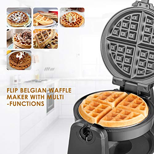 Belgian Waffle Maker 950W Aicook, 180 Waffle Maker Flip, Stainless Steel Waffle Iron with Temperature Control Non-stick Plates, Double-sided Heating For Fluffy Golden Waffles, Compact Fast
