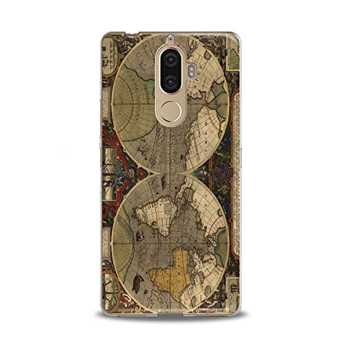 (Lex Altern TPU Case for Lenovo Phone K8 Note K6 Note 2017 K5 Plus Z5 Ancient Atlas Clear Gift Worldwide Soft Smooth Retro Lightweight Print Vintage Cover Flexible Globus Slim)