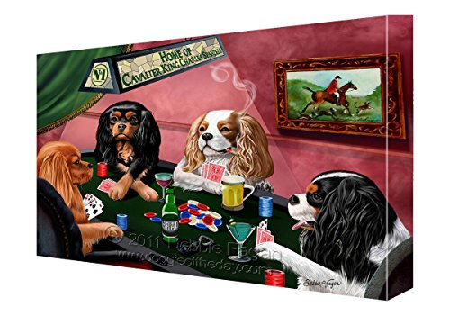 Wall Framed Cavaliers (House of Cavalier King Charles Spaniels Dogs Playing Poker Canvas (18x24))