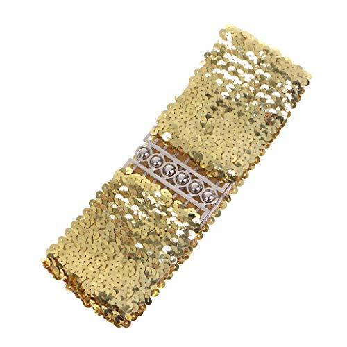 (Simdoc FashionWomen Wide Sequin Belt Glitter Elastic Fabric Wide Belt Cinch Waistband Dress Belt Accessories)