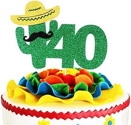 Excellent Fiesta 40Th Birthday Cake Topper Green Glitter Mexican Summer Funny Birthday Cards Online Benoljebrpdamsfinfo