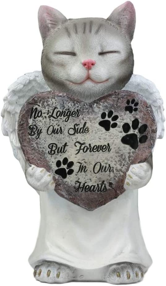 Celestial Angel Grey Cat In White Tunic Robe Pet Memorial Figurine Inspirational