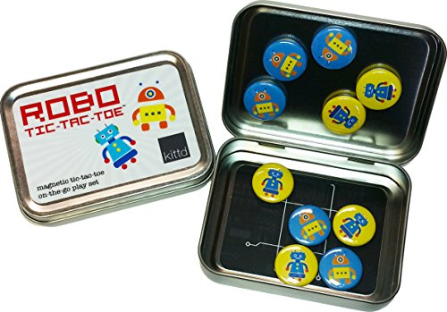 kittd - Robot Tic-Tac-Toe On-The-Go Magnetic Travel Play Set - Portable, Pocketable, and Playful - Includes 10 Pieces - Perfect for Trips, Events, and More!