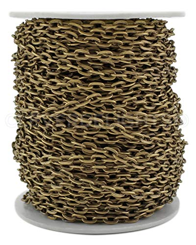 CleverDelights Cable Chain Spool - 30 Feet - Antique Bronze Color - 4x6mm Link - 10 Meters - Bulk Roll