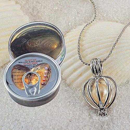 Calvas Factory Sale Wish Pearl Oysters Can with Real Rice Freshwater Pearl Inside, Canned-Pearl Mussel and Nacklace Set ()
