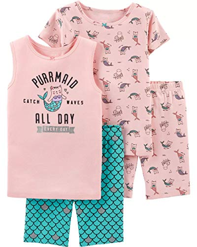 - Carter's Girls' 4-Piece Snug Fit Cotton PJS (10, Turquoise/Pink/Cat Mermaid)