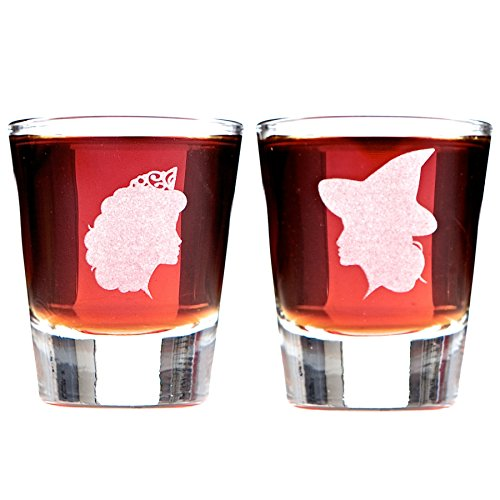 For Good: Elphaba and Glinda Inspired Silhouette Shot Glass Set -