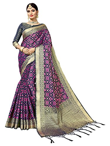 Women's Art Silk Woven Patola Indian Wedding Saree with Self Design (6831_Blue) by Sourbh