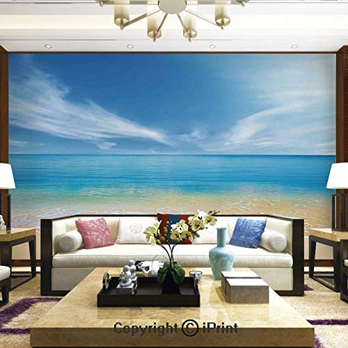 Lionpapa_mural Self-Adhesive Large Wallpaper Better Designs for Living Room,Sand Beach in Summer at a hot Island with Clean Sky Blue Sea,Home Decor - 100x144 inches - Mural Designs