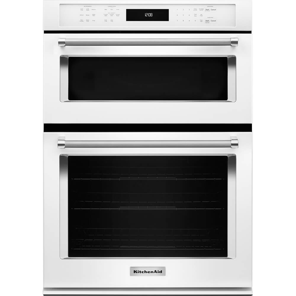 "KITCHENAID KOCE507EWH 27"" Double Electric Wall Oven with 1.4 cu. ft. Microwave Convection Oven, 4.3 cu. ft. True Convection Oven, Crispwave Technology and Temperature Probe"