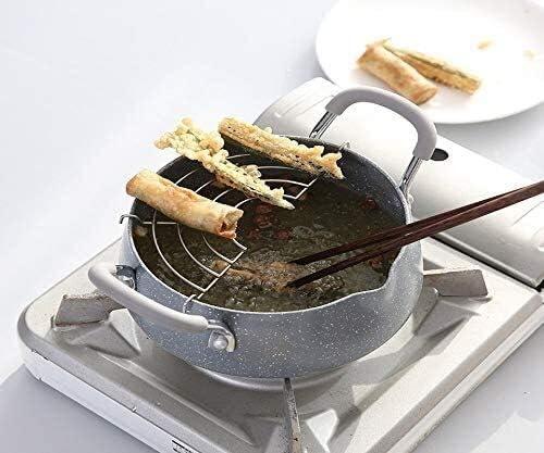 Acier inoxydable Granite antiadhésives céramique soupe couverte Pot Tempura Friture Pots avec le panier Batterie de cuisine Ustensiles de cuisine Marmite (Color : -)
