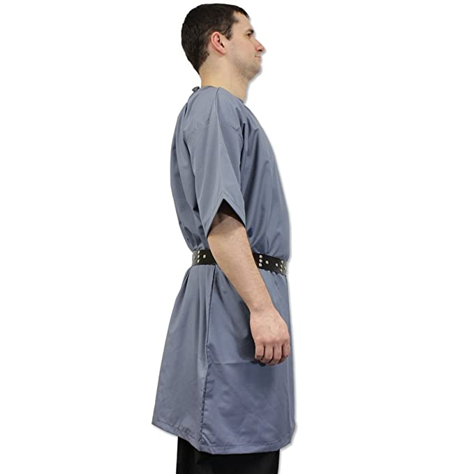 Ready for Battle Medieval Peasants Tunic Short Sleeved Faded Blue Costume Shirt