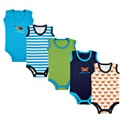 Luvable Friends Baby 5-Pack Lightweight Sleeveless Bodysuits, Blue Crab, 3-6 Months