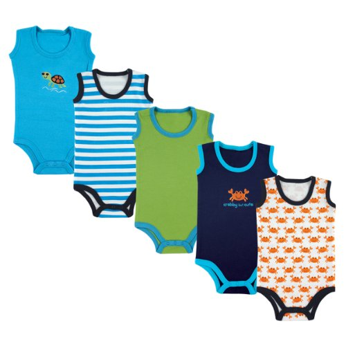 Blue Onesie Clothes Baby Top - Luvable Friends Baby 5-Pack Lightweight Sleeveless Bodysuits, Blue Crab, 6-9 Months