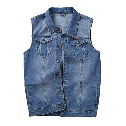 (HORZEE Men's Casual Button Up Denim Vest Vintage Sleeveless Jeans Vest Jacket Light Blue,)
