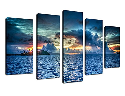 Canvas Wall Art Decor Sunset Sea Framed Ready to Hang - 5 Panels Large Contemporay Painting Bora Bora Polynesia Heavy Clouds Ocean Art Modern Picture Giclee Artwork for Living Room Bedroom Decoration