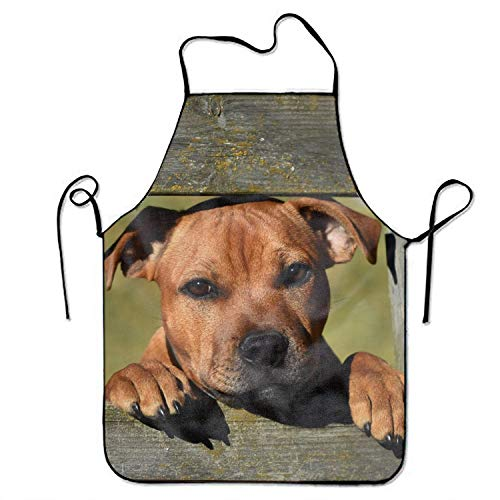 (Bib Aprons-Staffordshire Bull Terrier Muzzle -New Polyester-Commercial Restaurant Kitchen)