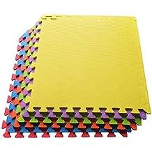 "Ottomanson Multipurpose Interlocking Puzzle Eva Foam Tiles-Anti-Fatigue Mat 24 Sq. Ft, 24"" x 24"" Tiles, Multicolor"