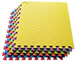 Ottomanson Multipurpose Interlocking Puzzle Eva Foam Tiles-Anti-Fatigue Mat 24 Sq. Ft, 24'' x 24'' Tiles, Multicolor